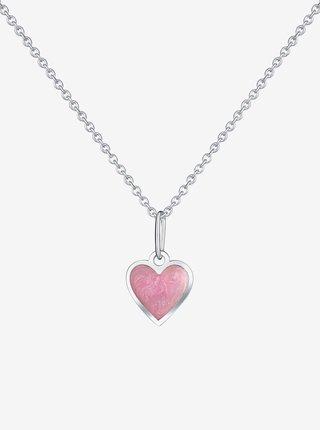 Dětský stříbrný přívěsek na řetízku Růžové srdce PRAQIA