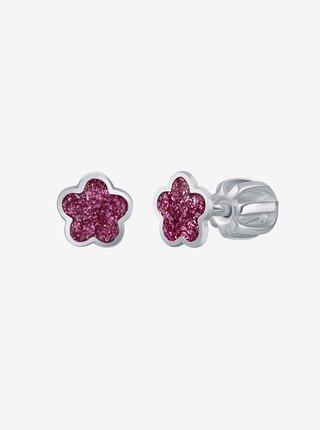 Stříbrné náušnice Růžový květ PRAQIA