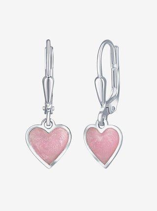 Dětské stříbrné náušnice Růžové srdce PRAQIA