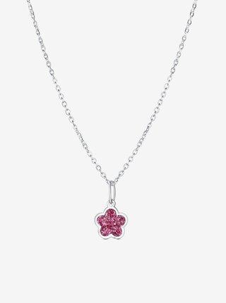 Dětský stříbrný přívěsek na řetízku Růžový květ PRAQIA