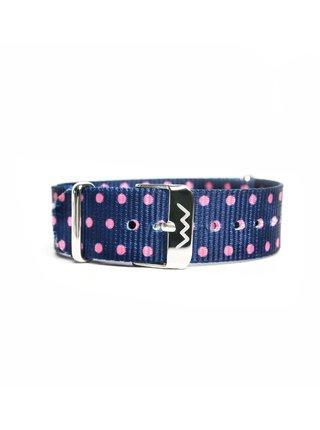 Tmavě modrý dámský puntíkovaný textilní pásek VUCH Silver Pink Dots
