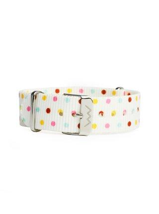 Bílý dámský textilní puntíkovaný pásek VUCH Silver Dots