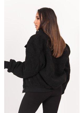 Černá dámská bunda z umělého kožíšku black jacket sherpa cargo pocket June Sixth
