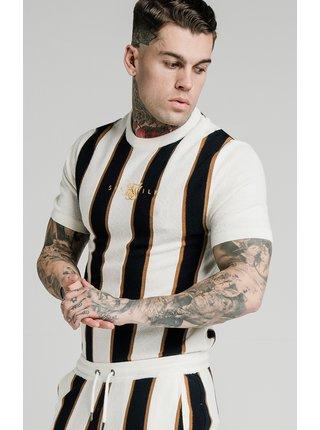 Černo-bílé pánské pruhované tričko TEE KNIT FITTED