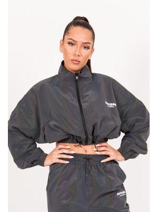 Tmavě šedá dámská crop top bunda black jacket short reflective June Sixth