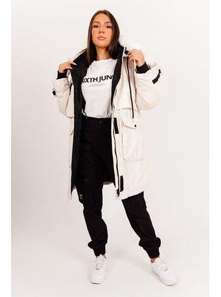 Krémová dámská bunda s kapucí Beige Fur Waterproof Parka Oversized