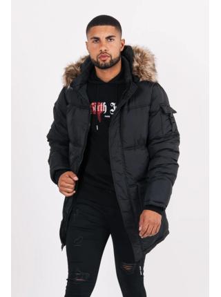 Pánske Black Jacket Puffer Fur Long