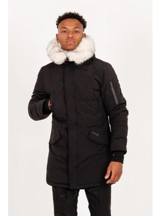 černá pánská bunda s kapucí Black Parka Print Fur Long