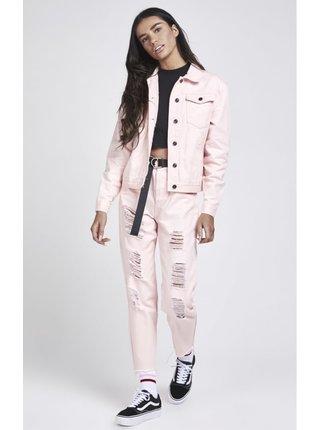 Růžová dámská džínová bunda Silk Sik