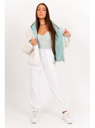 Bílá dámská bunda z umělého kožíšku white Jacket Bicolored Oversized Sherpa