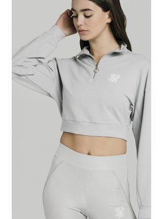 Světle šedá dámská crop top mikina Silver – Sweat Crop Zip Quarter SikSilk