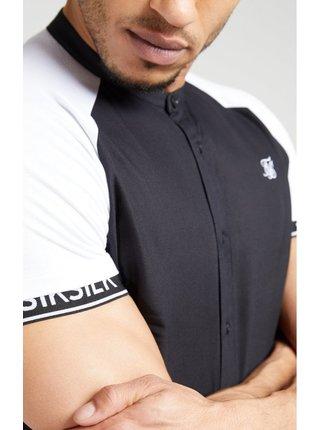 Bílo-černá pánská košile se stojáčkem Shirt Tech Raglan Oxford S/S SikSilk