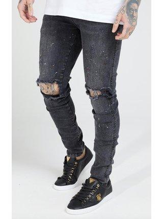 Černé pánské skinny fit džíny Riot Knee Bust Silk Sik