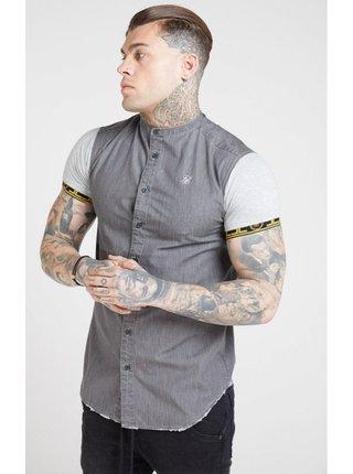 Šedá pánská košile se stojáčkem  Shirt Denim S/S SikSilk