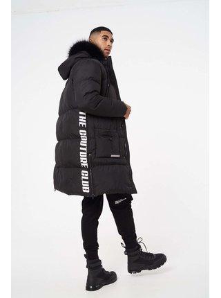 Černá pánská bunda s kapucí JACKET PUFFER PANELLED LONGLINE