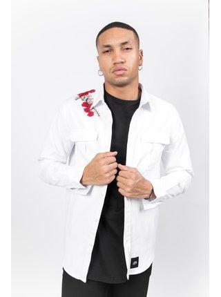 Bílá pánská košile s výšivkou na rameni Roses June Sixth