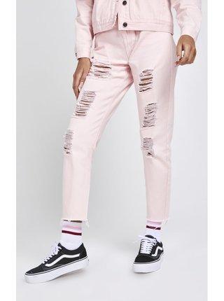 Světle růžové dámské zkrácené mom fit džíny  Fit Mom R.I.P. SikSilk