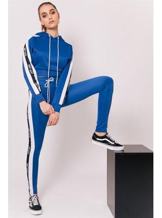 Modrá dámská crop top mikina s kapucí  Hoodie Tape Logo June Sixth