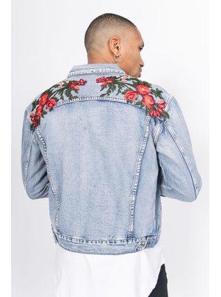 Světle modrá pánská džínová bunda s výšivkou na zádech Jacket Patches Roses Denim June Sixth