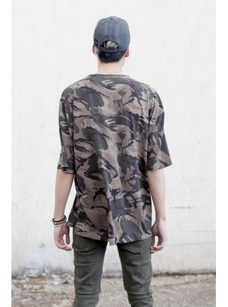 Khaki pánské vzorované tričko Camo Camouflage Imprimé 3/4 Manches June Sixth T