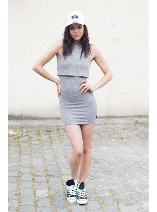Světle šedé dámské pouzdrové šaty Grey Integrated June Sixth