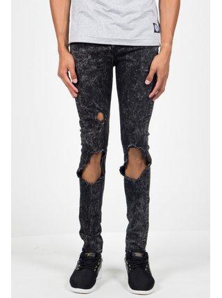 Černé pánské  skinny džíny Grey Washed Destroyed Jean June Sixth Jeans