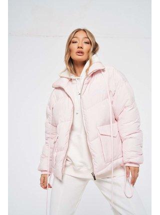 Růžová dámská bunda  JACKET PUFFER SIGNATURE ESSENTIAL