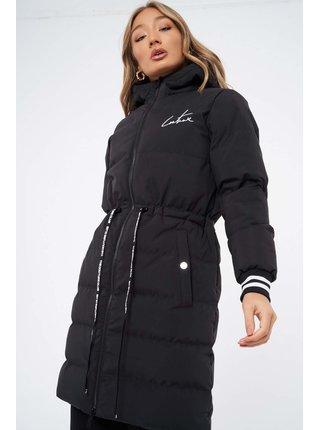 Černá dámská prošívaná bunda PUFFER LONGLINE STRIPE CONTRAST