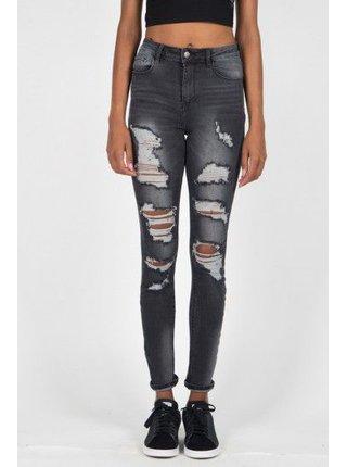 Tmavě šedé dámské skinny fit džíny Grey Washed Destroyed Jean Parisiennes June Sixth Jeans
