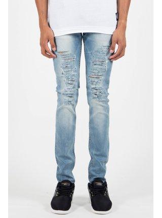 Světle modré pánské skinny fit džíny Délavé Destroy Blue June Sixth Jeans