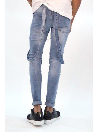Modré pánské džínové lacláče Blue Biker Dungaree June Sixth Jeans