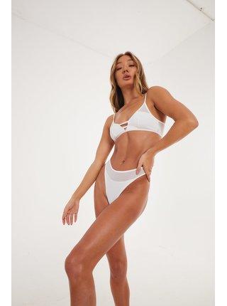Bílé dámské kalhotky THONG WHITE LEG HIGH PANELLED MESH