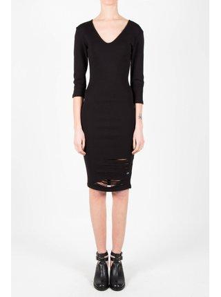 Černé dámské pouzdrové šaty s průstřihy  Black Destroyed Suede June Sixth