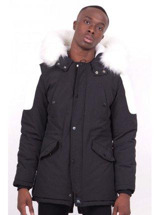 Černá pánská zimní bunda s kapucí Parka Biker June Sixth
