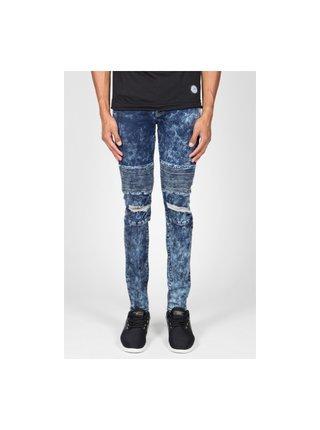 Modré pánské skinny fit džíny  Blue Destroy Biker June Sixth Jeans