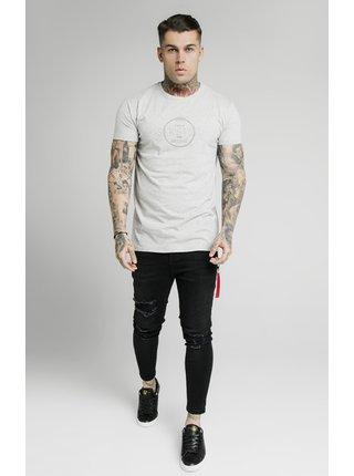 Světle šedé pánské tričko TEE BOX PRINT CHAIN HEM STRAIGHT