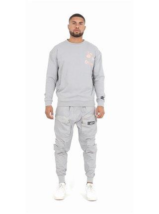 Světle šedé pánské kalhoty s kapsami Grey - PANT CARGO POCKET ZIPE FRONT