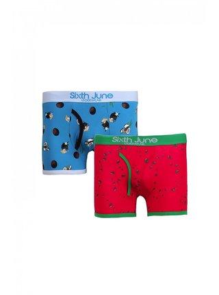 Modré pánské vzorované boxerky BOXER TROPICAL JUNE SIXTH