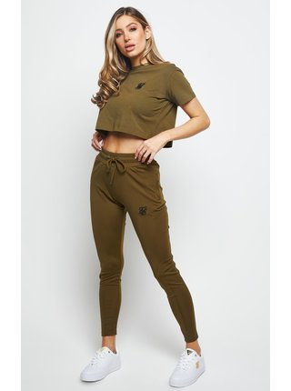 Khaki dámské crop top tričko  TEE BOX FIT RETRO