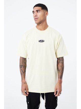 Krémové pánské tričko T-SHIRT OVERSIZED GRAPHIC DEFINITION BADGE RUBBER