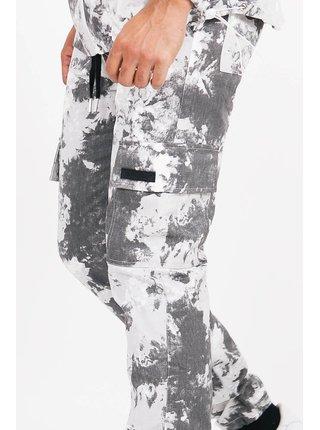 Bílo-šedé batikované pánské kalhoty PANTS CARGO MOUNTAIN