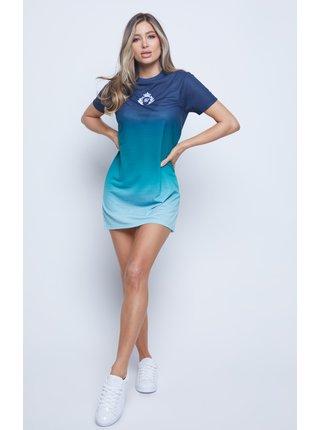 Modré dámské šaty  DRESS T-SHIRT EMBROIDERED FADE