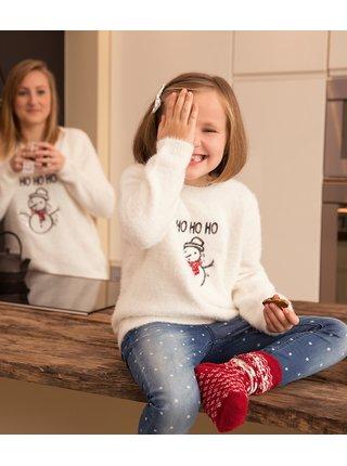 Biely dievčenský sveter s potlačou CAMAIEU