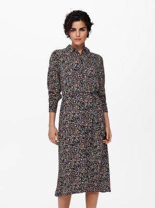 Černé květované košilové šaty Jacqueline de Yong Piper