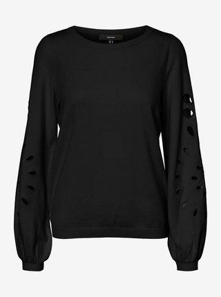 Černý svetr s ozdobnými rukávy VERO MODA Olina