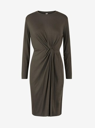 Khaki pouzdrové šaty Pieces Neora