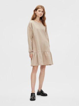 Béžové mikinové šaty Pieces Chilli