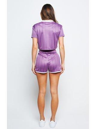Fialové dámské pruhované crop top tričko TEE CROP PRINT STRIPE