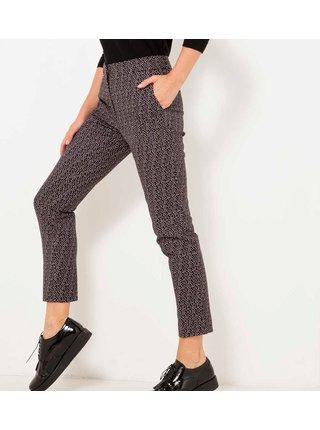 Černé vzorované zkrácené kalhoty CAMAIEU