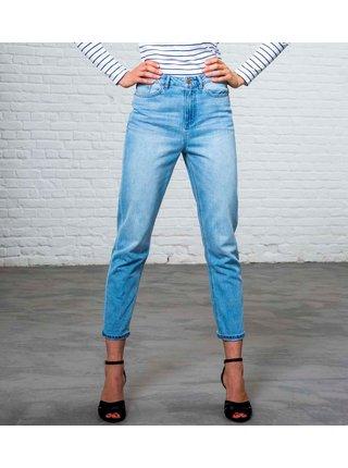 Světle modré zkrácené straight fit džíny s vysokým pasem CAMAIEU